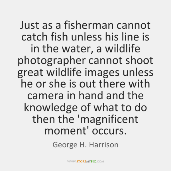 Just as a fisherman cannot catch fish unless his line is in ...