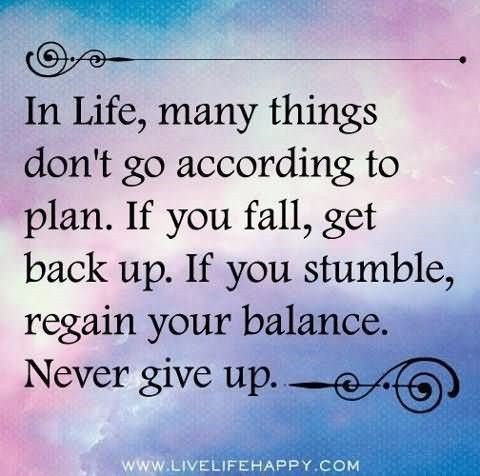 In life many things dont go according to plan if you fall get up if you stumble rega