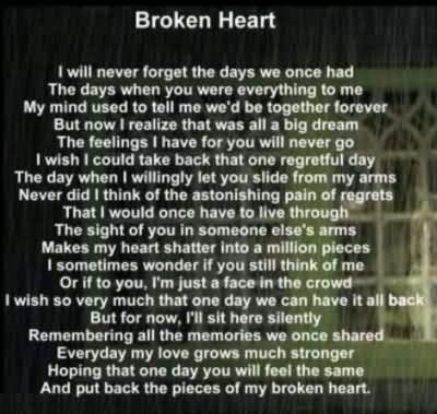 Broken Heart I Will Never Forget The Days We Once Had The Days When