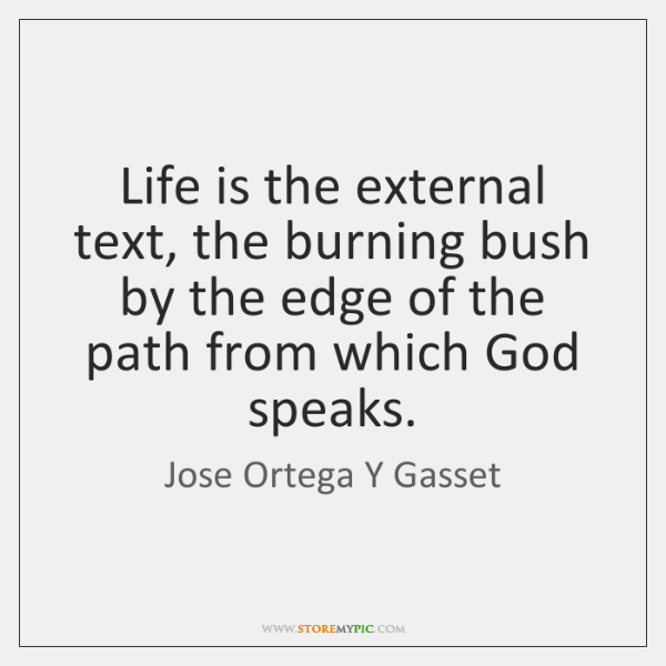 Life is the external text, the burning bush by the edge of ...