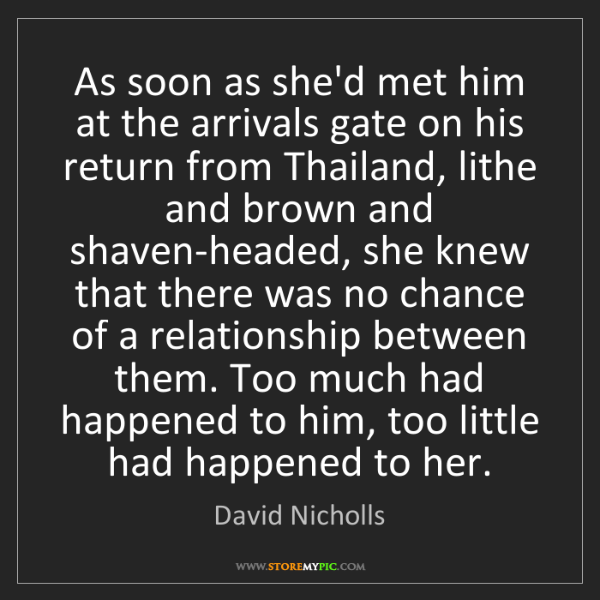 David Nicholls: As soon as she'd met him at the arrivals gate on his...