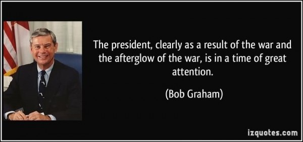 The president clearly as a result of the war and the afterglow of the war is in a time of
