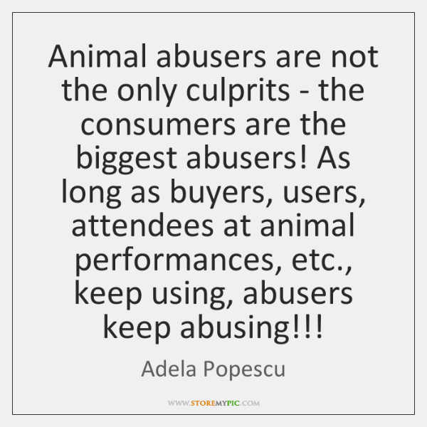 Animal abusers are not the only culprits - the consumers are the ...