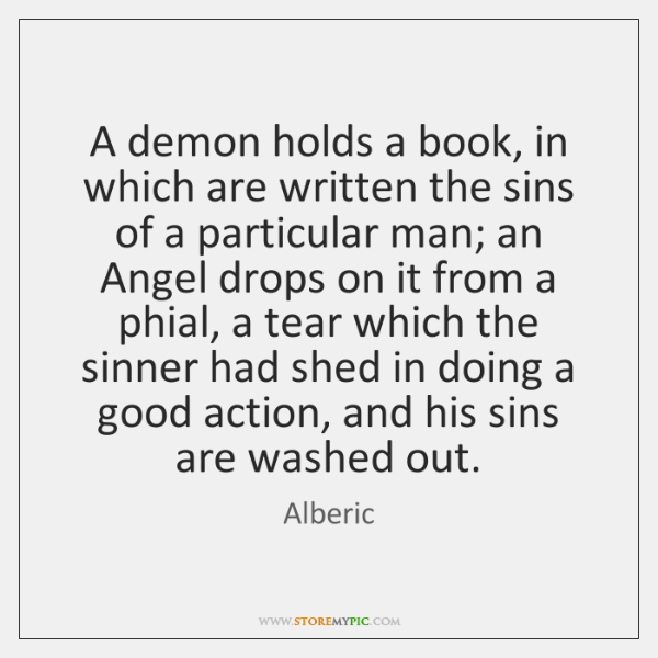 A demon holds a book, in which are written the sins of ...
