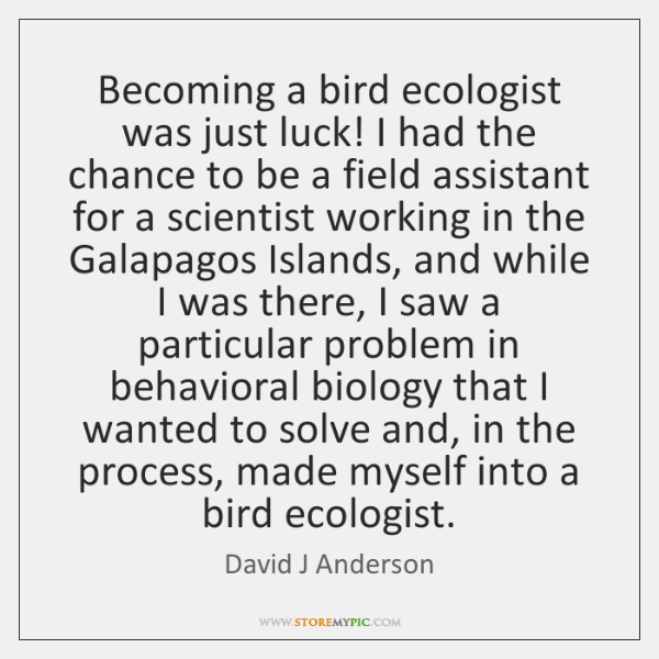 Becoming a bird ecologist was just luck! I had the chance to ...