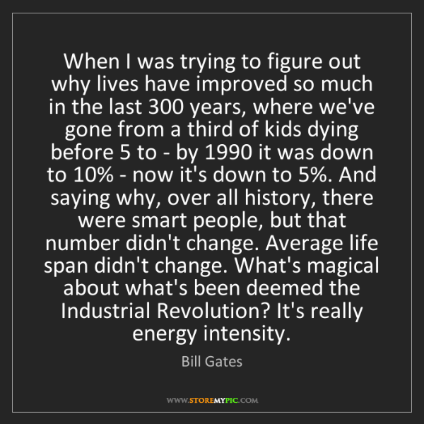 Bill Gates: When I was trying to figure out why lives have improved...