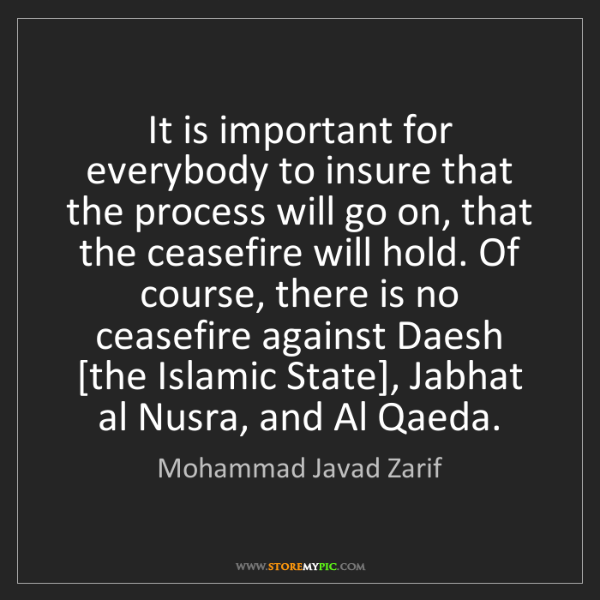 Mohammad Javad Zarif: It is important for everybody to insure that the process...