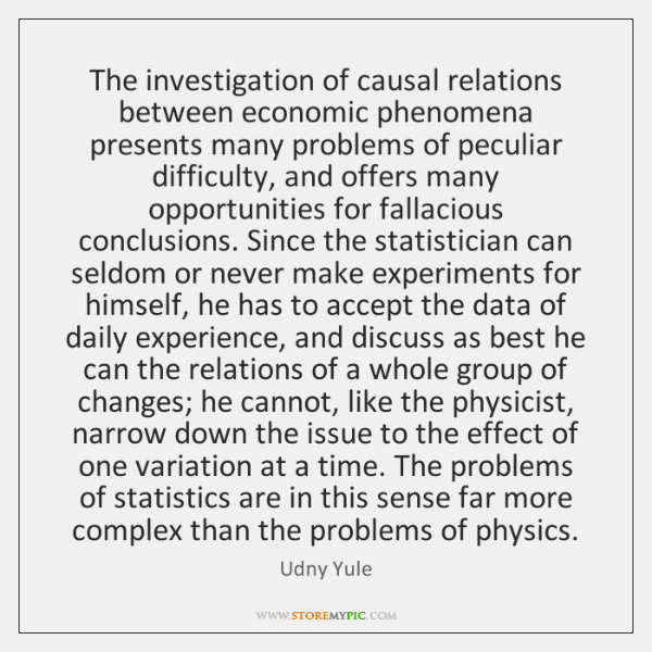 The investigation of causal relations between economic phenomena presents many problems of ...