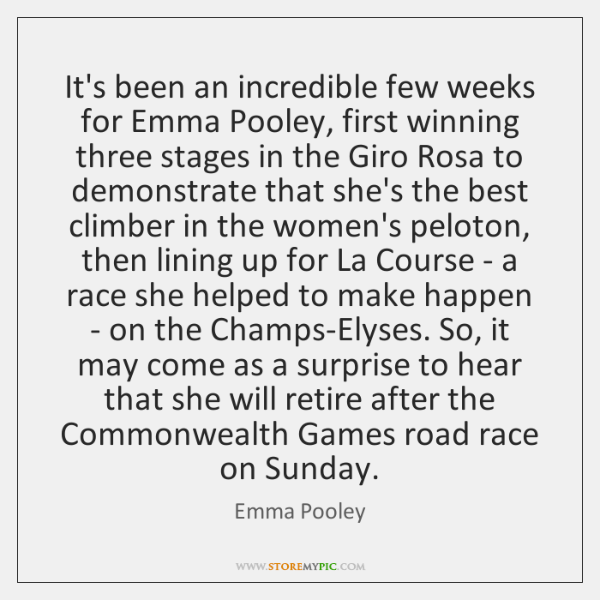 It's been an incredible few weeks for Emma Pooley, first winning three ...