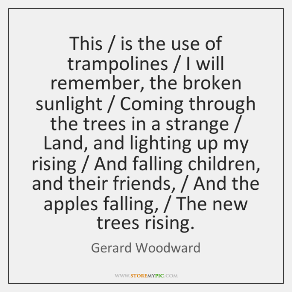 This / is the use of trampolines / I will remember, the broken sunlight / ...