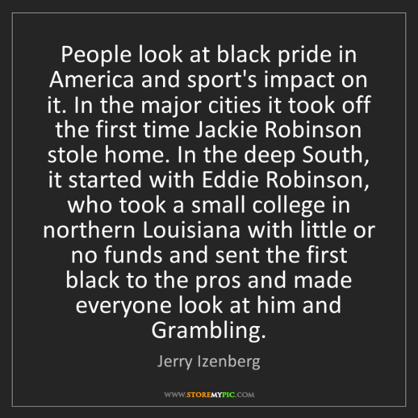 Jerry Izenberg: People look at black pride in America and sport's impact...