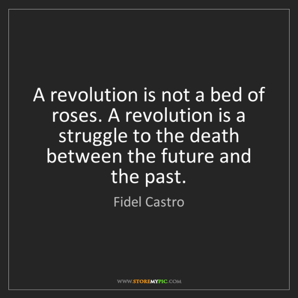 Fidel Castro: A revolution is not a bed of roses. A revolution is a...
