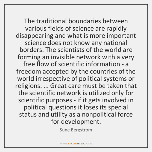 The traditional boundaries between various fields of science are rapidly disappearing and ...