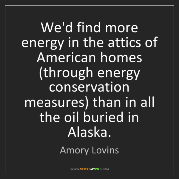Amory Lovins: We'd find more energy in the attics of American homes...