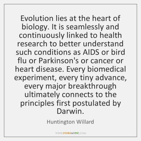 Evolution lies at the heart of biology. It is seamlessly and continuously ...