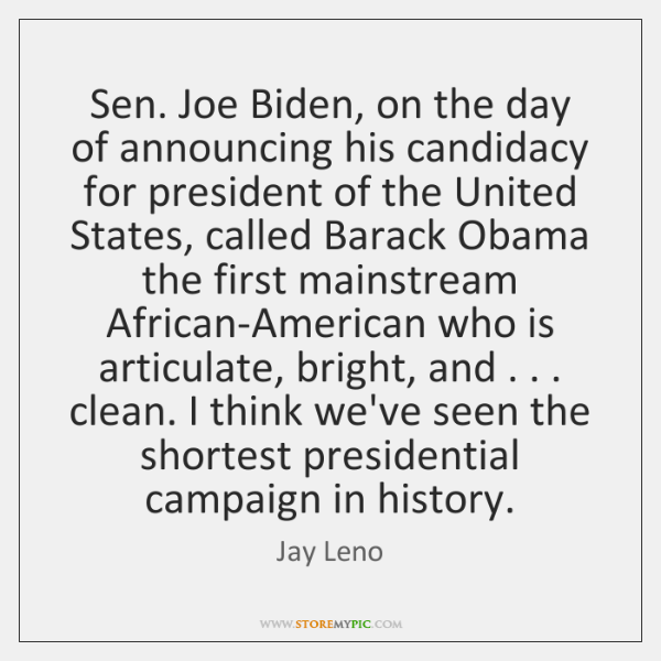 Sen. Joe Biden, on the day of announcing his candidacy for president ...