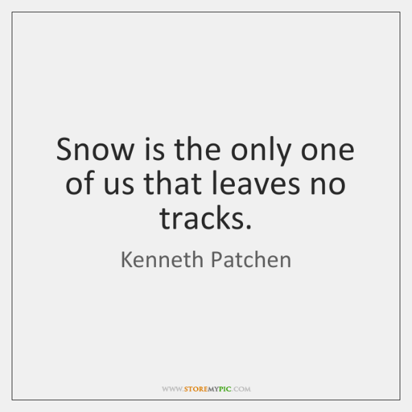 Snow is the only one of us that leaves no tracks.