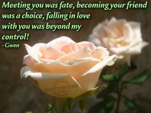 Meeting you was fate becoming your friend was a choice falling in love with you was beyond my contro