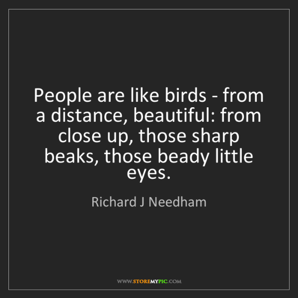 Richard J Needham: People are like birds - from a distance, beautiful: from...