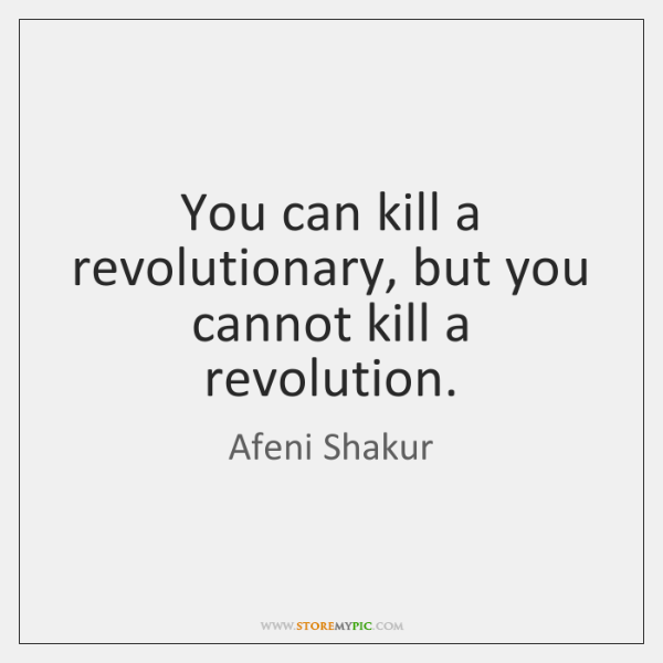 You can kill a revolutionary, but you cannot kill a revolution.