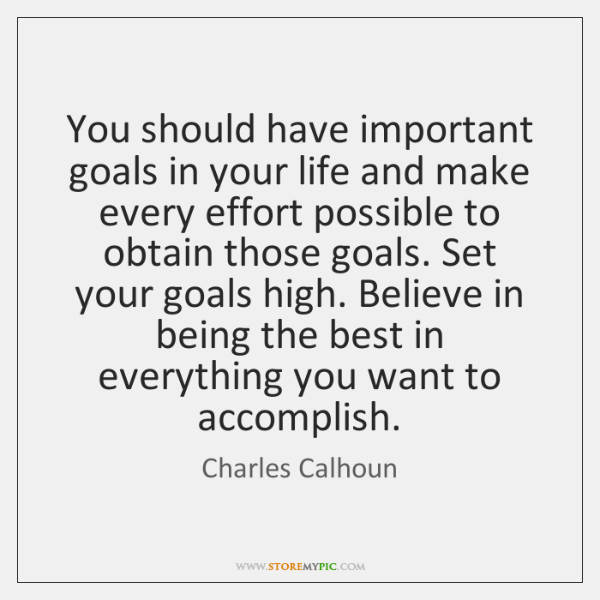 You should have important goals in your life and make every effort ...