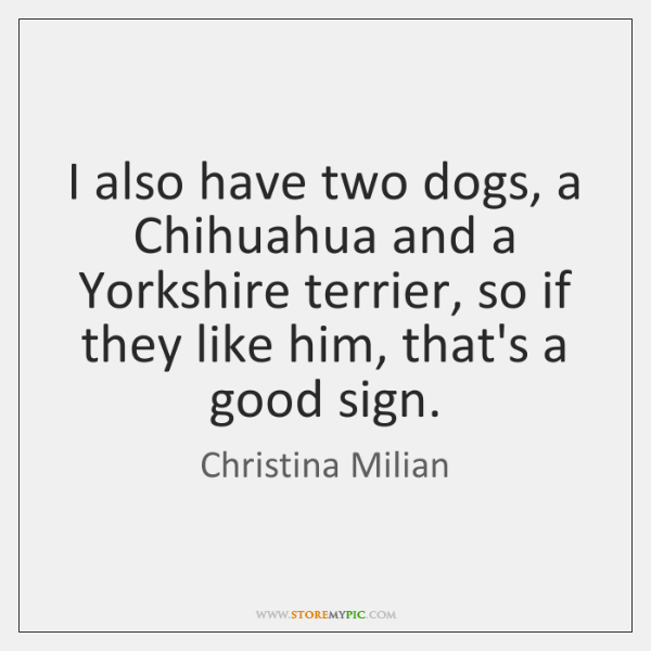 I also have two dogs, a Chihuahua and a Yorkshire terrier, so ...