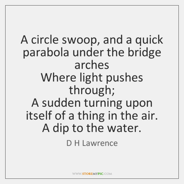 A circle swoop, and a quick parabola under the bridge arches  Where ...