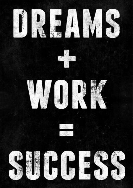 Dreams plus work is equal to success
