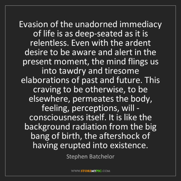 Stephen Batchelor: Evasion of the unadorned immediacy of life is as deep-seated...