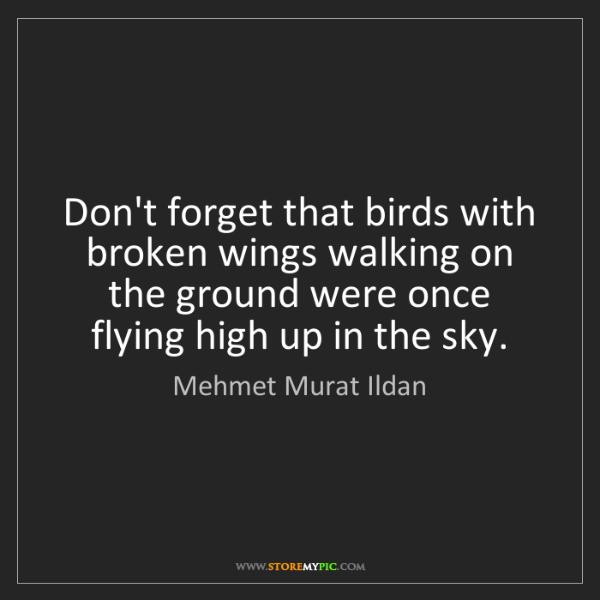 Mehmet Murat Ildan: Don't forget that birds with broken wings walking on...