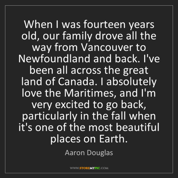 Aaron Douglas: When I was fourteen years old, our family drove all the...