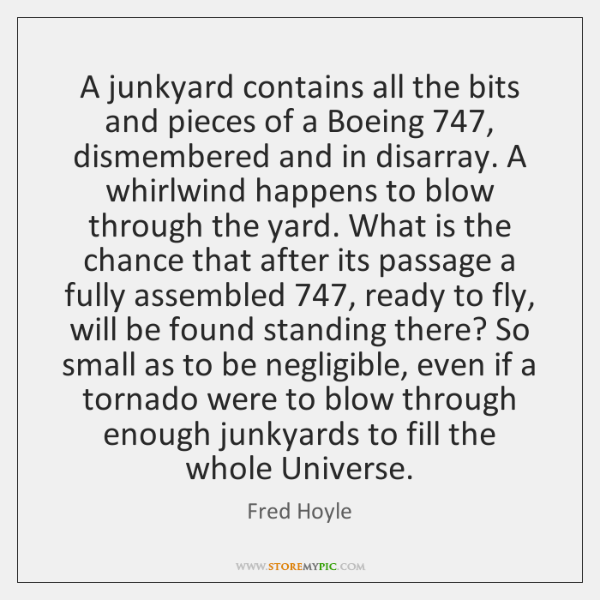A junkyard contains all the bits and pieces of a Boeing 747, dismembered ...