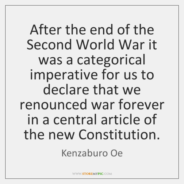 After the end of the Second World War it was a categorical ...