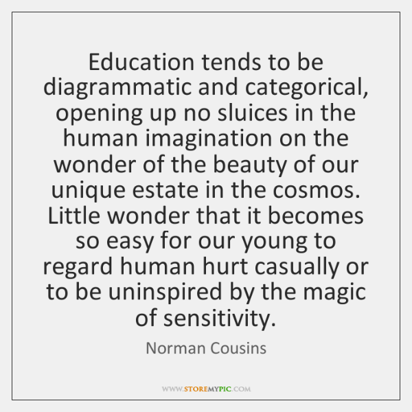 Education tends to be diagrammatic and categorical, opening up no sluices in ...