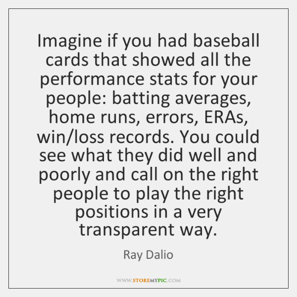Imagine if you had baseball cards that showed all the performance stats ...