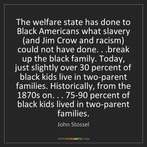 John Stossel: The welfare state has done to Black Americans what slavery...