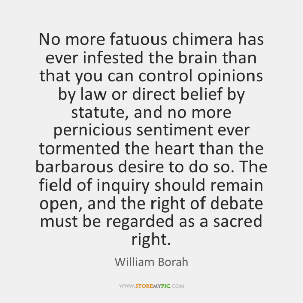 No more fatuous chimera has ever infested the brain than that you ...