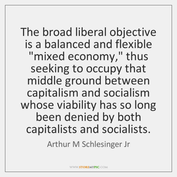 "The broad liberal objective is a balanced and flexible ""mixed economy,"" thus ..."
