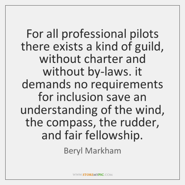 For all professional pilots there exists a kind of guild, without charter ...