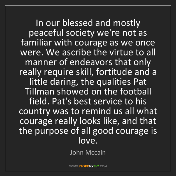 John Mccain: In our blessed and mostly peaceful society we're not...
