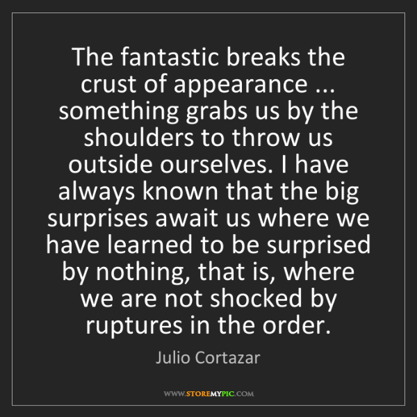 Julio Cortazar: The fantastic breaks the crust of appearance ... something...