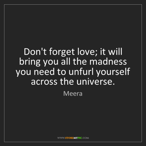 Meera: Don't forget love; it will bring you all the madness...