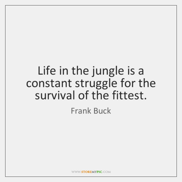 Life in the jungle is a constant struggle for the survival of ...