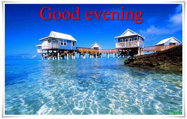 Good evening house in water