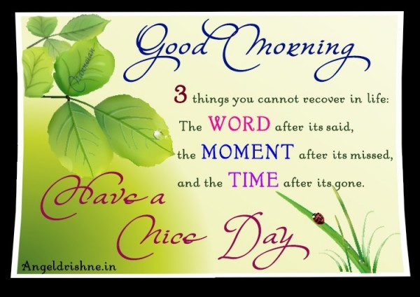 Good morning 3 things you cannot recover in life the word after its said the moment after its missed