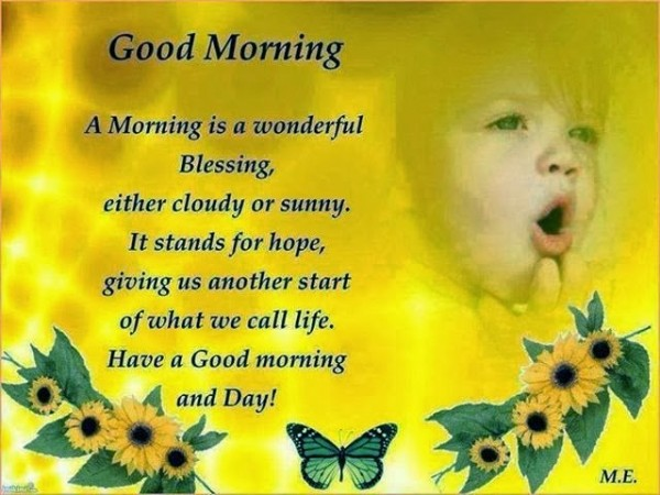 Good morning a morning is a wonderful blessing either cloudy or sunny