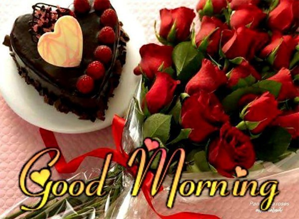 Good morning chocolate cake roses bouqet