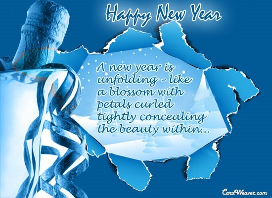 Happy new year a new year is unlfoding like a blossom with petals curled tightly concealing the beau