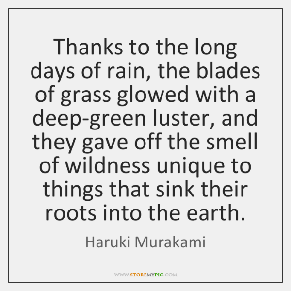 Thanks to the long days of rain, the blades of grass glowed ...