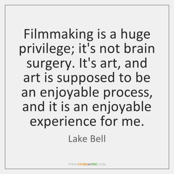 Filmmaking is a huge privilege; it's not brain surgery. It's art, and ...